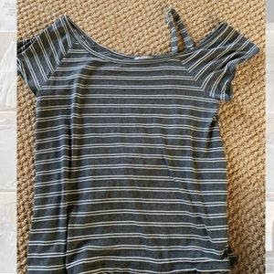 Striped short sleeve shirt with strap